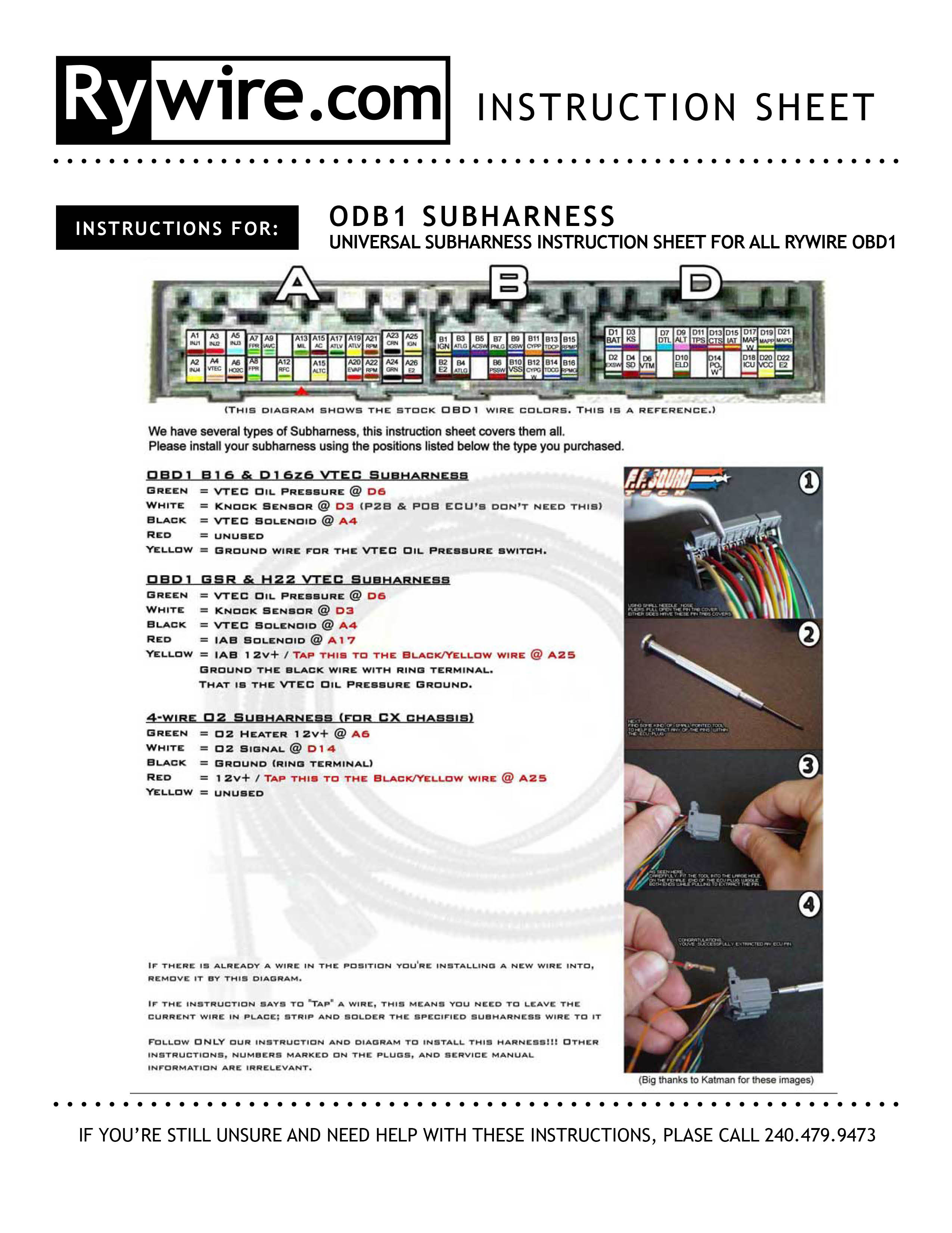 OBD2 A VTEC SUBHARNESS INSTRUCTIONS